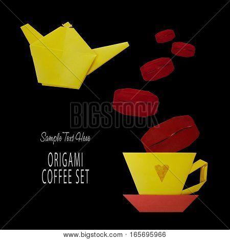 Origami Of Coffee Set