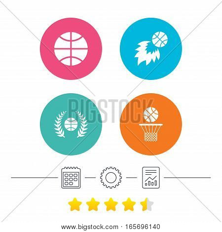 Basketball sport icons. Ball with basket and fireball signs. Laurel wreath symbol. Calendar, cogwheel and report linear icons. Star vote ranking. Vector