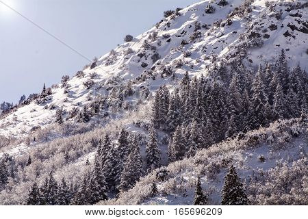 mountain scene in northern utah where it is popular to ski and snowboard and take a winter vacation