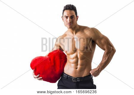 Sexy Shirtless Muscle Man Holding Plush Red Heart Toy, isolated on White Background