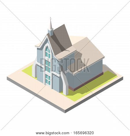 Vector isometric Christian church building . Isolated on white background. Infographic element