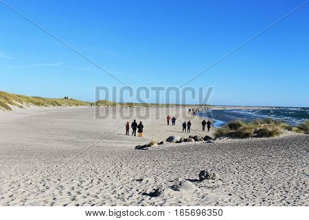 Sandy Lanscape and a Clear Blue Sky by the Coast.