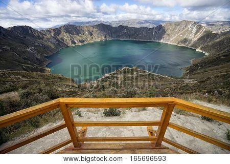 Laguna Quilotoa in Ecuador seen from the viewing deck