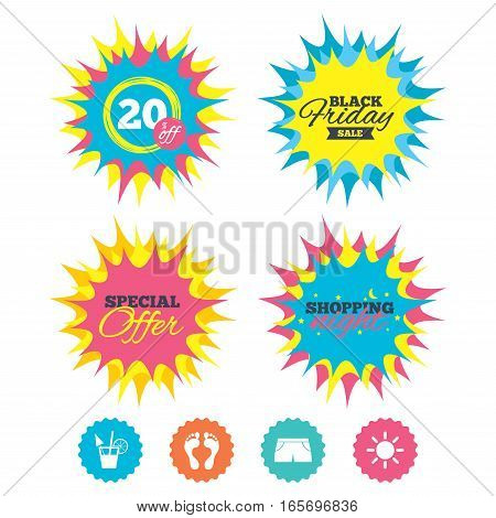 Shopping night, black friday stickers. Beach holidays icons. Cocktail, human footprints and swimming trunks signs. Summer sun symbol. Special offer. Vector