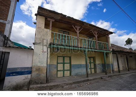 rustic rural colonial building in the Ecuadorian highlands
