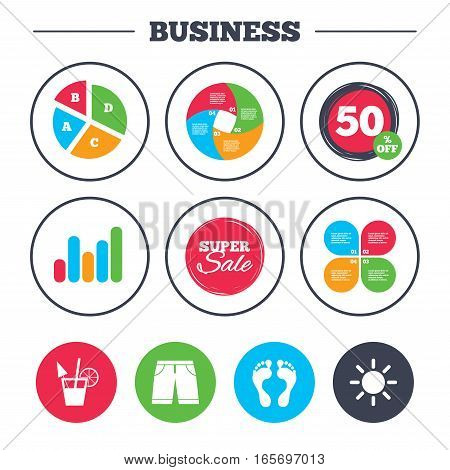 Business pie chart. Growth graph. Beach holidays icons. Cocktail, human footprints and swimming trunks signs. Summer sun symbol. Super sale and discount buttons. Vector