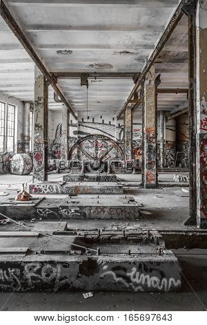 Empty Room In Abandoned Factory Ruin