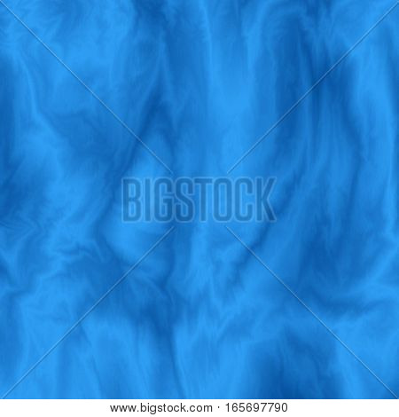 Abstract blue silky background. Cloth wavy colorful texture. Flowing streamy silk effect. Color fabric overflow. Vector illustration.