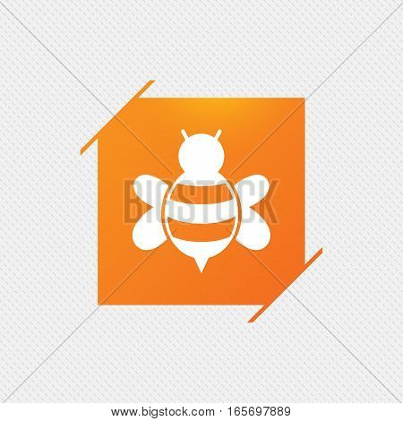 Bee sign icon. Honeybee or apis with wings symbol. Flying insect. Orange square label on pattern. Vector