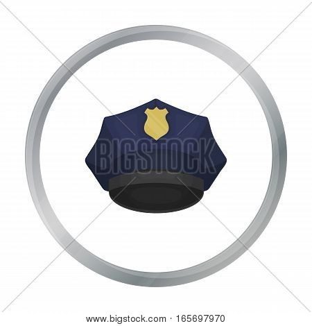 Police cap icon in cartoon style isolated on white background. Hats symbol vector illustration.