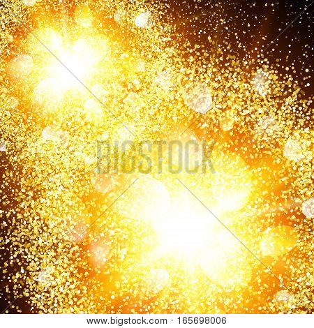 Abstract golden explosion with gold glittering elements. Burst of glowing stars. Dust firework light effect. Sparkles splash powder background. Vector illustration.