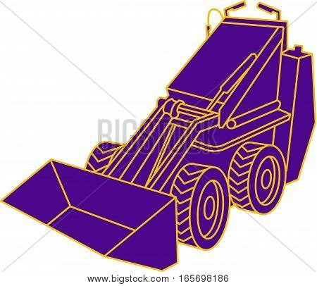 Mono line style illustration of a compact skid steer viewed from front set on isolated white background.
