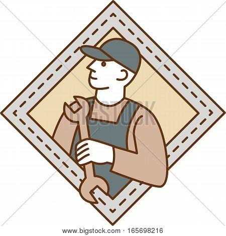 Mono line style illustration of a mechanic holding wrench looking to the side viewed from front set inside shield crest on isolated background.
