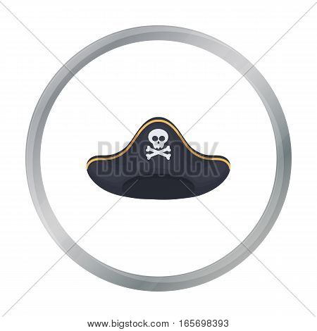 Pirate hat icon in cartoon style isolated on white background. Hats symbol vector illustration.