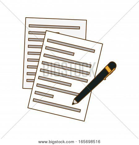 contract papers and pen icon image vector illustration design