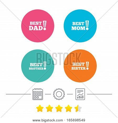 Best mom and dad, brother and sister icons. Award with exclamation symbols. Calendar, cogwheel and report linear icons. Star vote ranking. Vector