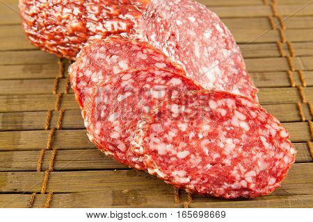 salami isolated on a vintage background. Stock image