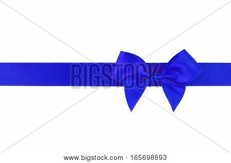 Blue ribbon with bow isolated on white background