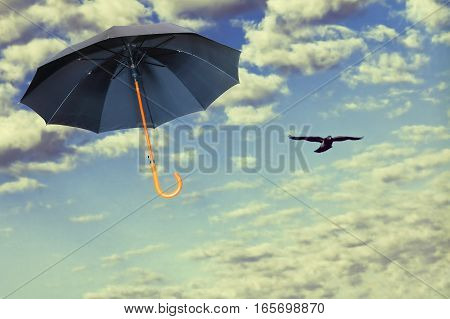 Black umbrella flies in dramatic sky against of white clouds.Mary Poppins Umbrella.Wind of change concept.