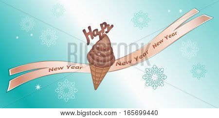 Greeting banner. Chocolate icecream with decor, ribbon, Happy New Year lettering and snowflakes. Labels for your design. Brown, beige colored icons on blue background. Vector