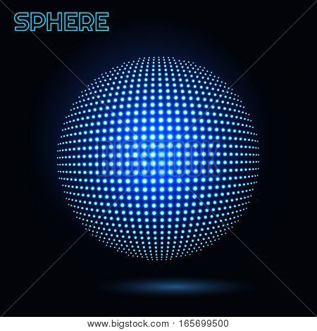 Vector sphere. Abstract technical illustration. 3 D object consisting of points. Technology concept. Shining spherical lamp.