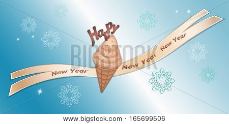 Greeting banner. Strawberry icecream with chocolate decor, ribbon, Happy New Year lettering and snowflakes. Labels for your design. Rosy, brown colored icons on blue background. Vector