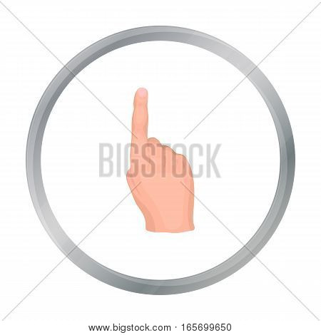 Raised index finger icon in cartoon style isolated on white background. Hand gestures symbol vector illustration.