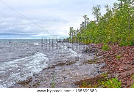 Remote Lake Superior Shore in the Wilderness of Porcupine Mountains State Park in MIchigan
