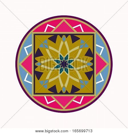 Mandala tattoo icon. Geometric round stylized ornament. Harmony, luck, infinity symbol. Turquoise, blue, violet, white colored. Vector
