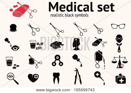 Medical icons set. Health and medicine tool symbols. Forceps, pincers, enema, clamp, tooth, bandage, scissors, spectacles, magnifier, scales, pills, eye, drop, bag, doctor, water. Black signs. Vector