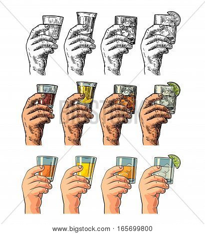 Male hand holding a glasses with tequila rum whiskey and ice cubes. Drawing in three graphic styles. Color and black vintage engraving and flat vector illustration isolated on white background