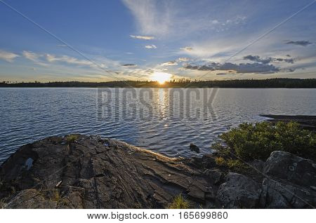 Sun Setting on a Carp Lake in Quetico Provincial Park in Ontario