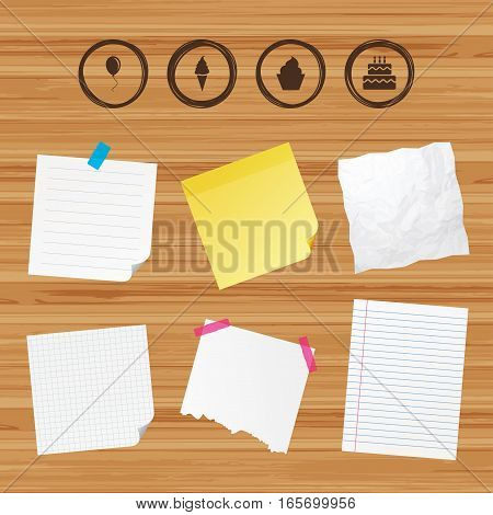 Business paper banners with notes. Birthday party icons. Cake with ice cream signs. Air balloon with rope symbol. Sticky colorful tape. Vector