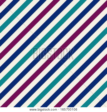 Seamless geometric pattern. Stripy texture for neck tie. Diagonal contrast strips on background. Blue, turquoise, purple colors. Vector