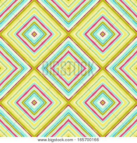 Striped diagonal rectangle seamless pattern. Square rhombus lines with torn paper effect. Ethnic background. Yellow, blue, aqua, magenta colors. Vector poster