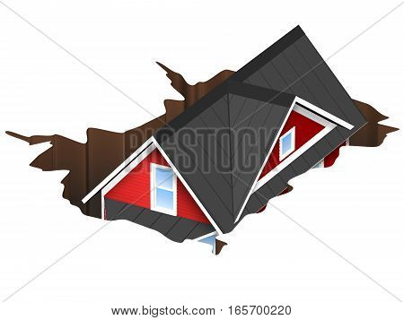 3D Rendered Illustration of a house falling into a hole. Concept for money pit or sink hole. Isolated on White Background.