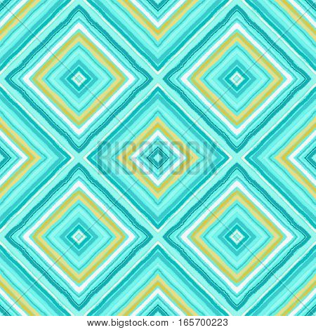 Striped diagonal rectangle seamless pattern. Square rhombus lines with torn paper effect. Ethnic background. Yellow, blue, aqua colors. Vector