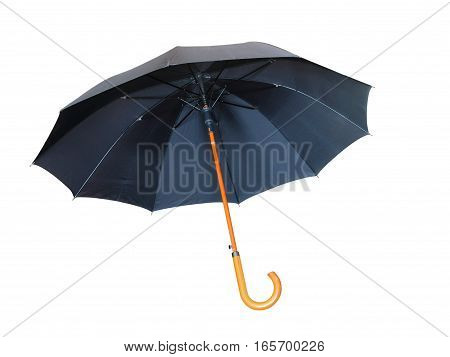 The Black umbrella isolated on white background.