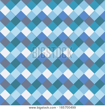Seamless geometric checked pattern. Diagonal square, woven line background. Rhombus, patchwork texture. Blue, gray, aqua, white pastel colored. Vector