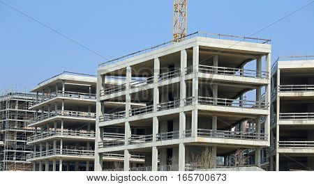 Immense Building Under Construction With Concrete Walls