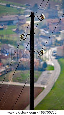 Light Pole With Three Wires Of The Power Line