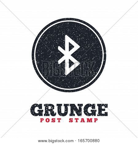 Grunge post stamp. Circle banner or label. Bluetooth sign icon. Mobile network symbol. Data transfer. Dirty textured web button. Vector