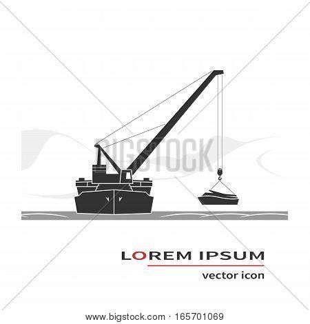 Floating crane icon. Salvage operation. Vector illustration.