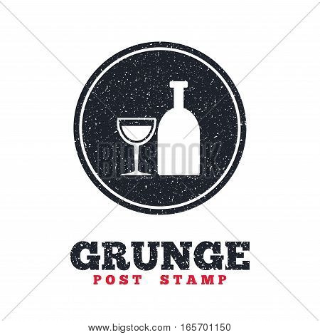Grunge post stamp. Circle banner or label. Alcohol sign icon. Drink symbol. Bottle with glass. Dirty textured web button. Vector