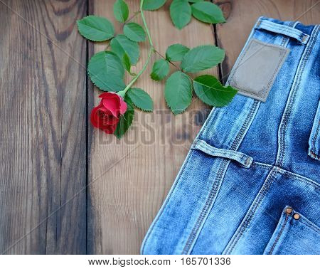 Red rose with leaf and jeans on wooden background