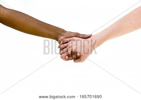Multiethnic people holding hands. Black and white friends.