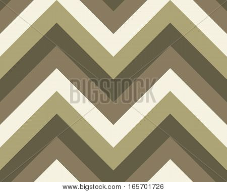 Striped, zigzagging seamless pattern. Zig-zag line texture. Stripy geometric background. Khaki, olive, ivory colored. Vector