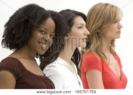 Profile of diverse group of woman isolated on white.