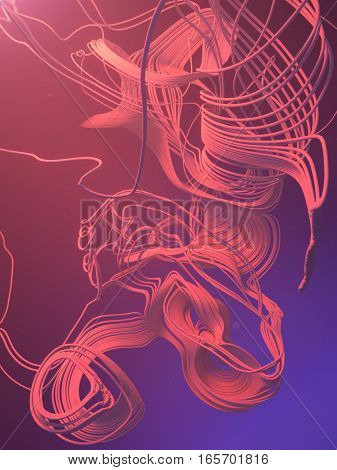 Abstract 3d rendering trail trace effect with blue and pink volumetric light behind