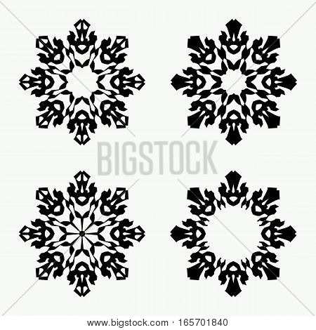 Christmas snowflake icon set. Ornamental view snow signs. Winter, New Year, holiday symbol. Black silhouette on white background. Vector isolated